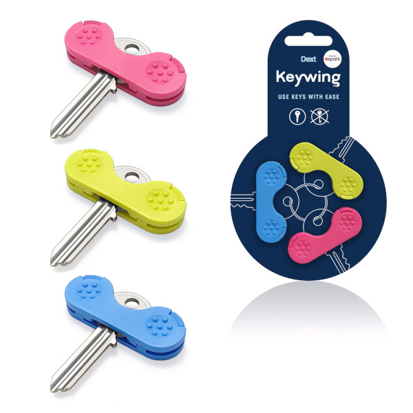 """Schlüsseldrehhilfe """"The Keywing"""" 3er Set in den Farben pink, blau und grün"""